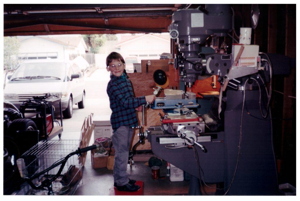Ryan as a kid on Milling Machine